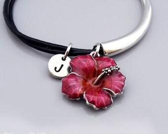 Hibiscus bangle, Pink Hibiscus, Hibiscus flower bracelet, Garden charm jewelry, Flower charm jewelry, Leather bracelet, Leather bangle