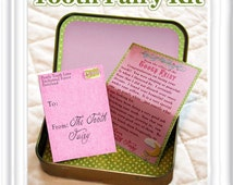 Tooth Fairy Kit in blue & pink - 2 separate versions -  tiny letter from tooth fairy, door hangers, dental chart, altoid box decor