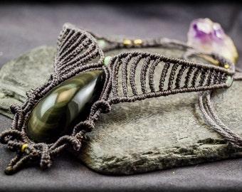 BOHO Choker Macrame Necklace with Rainbow Obsidian, Healing Stones, Macrame, Bridal Jewelry, Gipsy Jewelry, BOHO Jewelry