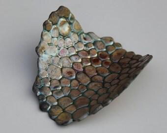 Raku Fired Carved Pebble Pattern Dish
