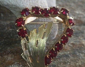 Red Rhinestone Heart Brooch, Valentine's Day Jewelry, Heart Accessory