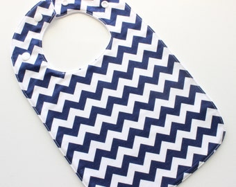 SALE! Baby bib - blue boys navy chevron