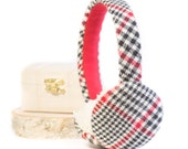 Small Houndstooth Flannel Plaid Christmas Holiday Earmuffs (Danielle) , kid, children