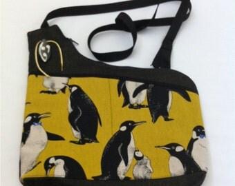 Yellow Penguins Handmade Asymmetrical Shoulder Bag