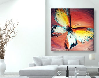 """oil painting, modern art, """"Yellow Butterfly"""", canvas art, paintings on canvas, wall art, painting, abstract painting, wall painting, art"""