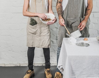 Natural traditional and adjustable full linen apron with pockets / gift apron