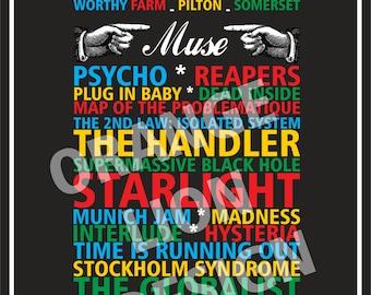 Muse Set List Poster - Drones Tour - Glastonbury Festival 2016 - Gig Souvenir - Friday 24th June 2016