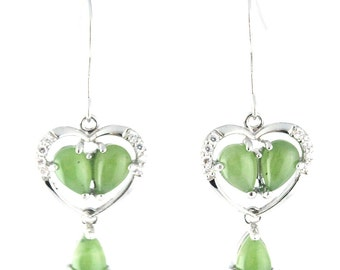 Canadian Nephrite Jade Earrings, Heart 0741