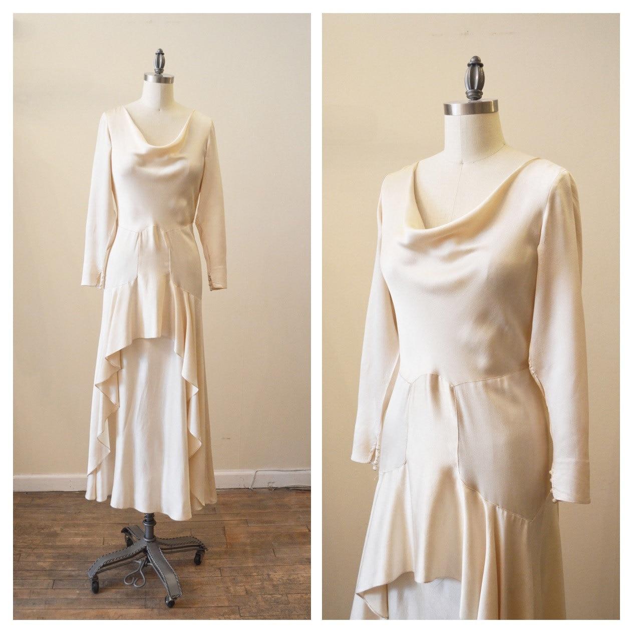 Vintage 1920s Crepe Back Satin Wedding Dress