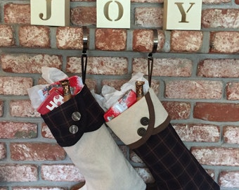 READY TO SHIP: Set of Two Fully Lined Brown Plaid and Taupe Christmas Stockings
