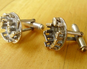 One Pair Sterling Silver Stonehenge Cufflinks