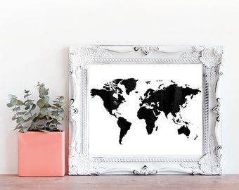 World Map, World Map Print, Travel Print, Travel Art, Travel, Map Art, Watercolour Map, Instant Download, Digital Print