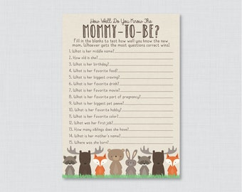Woodland Baby Shower Printable How Well Do You Know the Mommy to Be Game - Who Knows Mommy Best? - Woodland Shower Game Mommy Quiz 0010