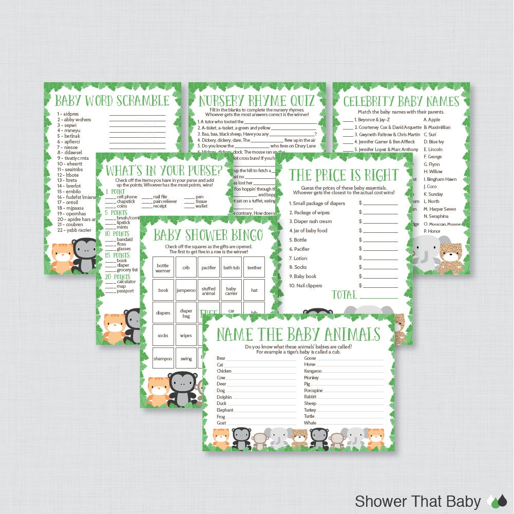 jungle theme baby shower games package seven printable