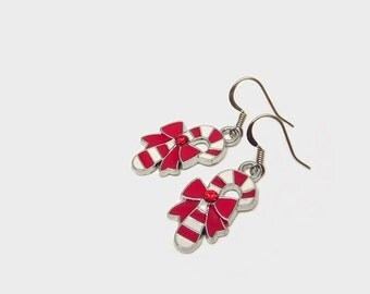 Christmas earrings, candy cane earrings, peppermint cane earrings, red white earrings, holiday earrings, holiday jewelry, candy charms