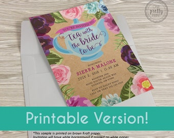 Tea Party Bridal Shower Floral Invitation - Printable Version!