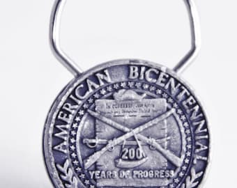 America Bicentennial Pewter Key Fob Ring Holder Vintage Collectible ~Circa 1976~