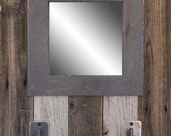 Reclaimed wood Mirror with Handmade Hooks