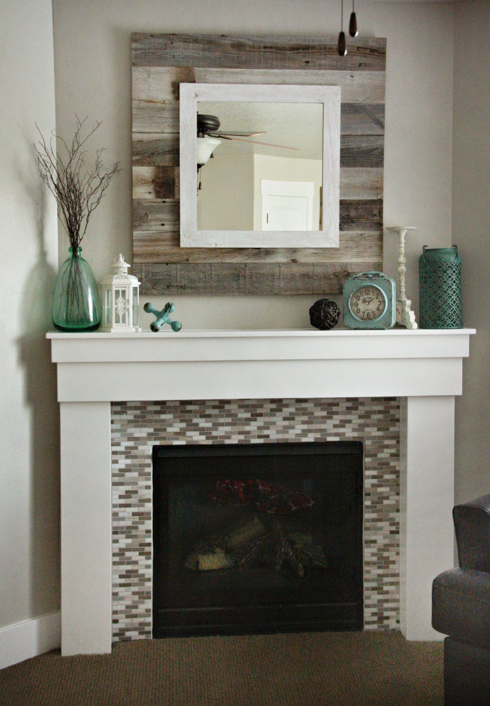 Barn Wood Mirror Rustic Home Decor: Barn Wood Slat Mirror W/white Overlay