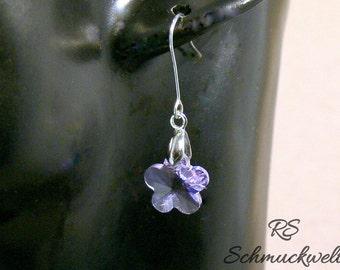 Earrings, flower, purple, violet, Crystal, 925 sterling silver, brilliant, wedding, engagement, Bridal jewellery, gift, Christmas