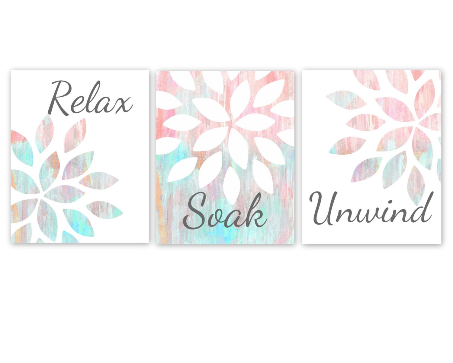 Bathroom wall art relax soak unwind printable instant download for Bathroom decor etsy