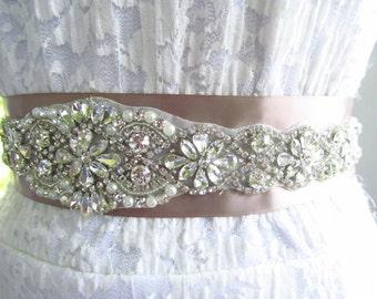 SQA-18 / Large Rhinestone Bridal Belt / Bridal Sash / Bridal  / Rhinestone Sash / Wedding Belt / Rhinestone Bridal Belt / Crystal Belt