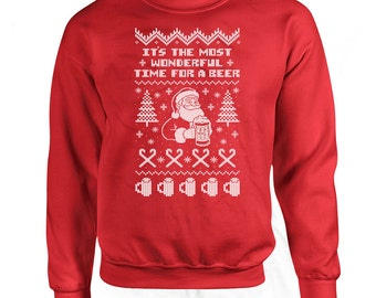 Funny Christmas Sweater It's The Most Wonderful Time For A Beer Drinking Sweater Gifts For Christmas Drinking Gifts Christmas Hoodie DN-261