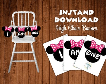 Minnie Mouse Instant Download High Chair Banner - Minnie Mouse Birthday Party Decorations - Minnie Mouse Banner