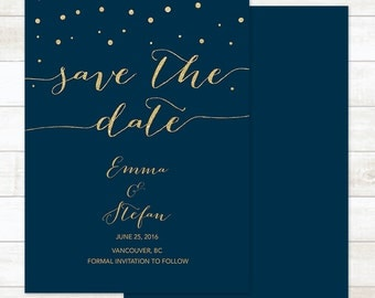 navy gold save the date card, gold glitter save the date invite, save the date announcement, save the date printable, wedding announcement
