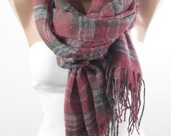 Plaid Scarf Shawl Flannel Scarf Infinity Scarf Circle Scarf Loop Scarf    Holiday Fashion Warm Winter Scarf Christmas Gift For Her For Women