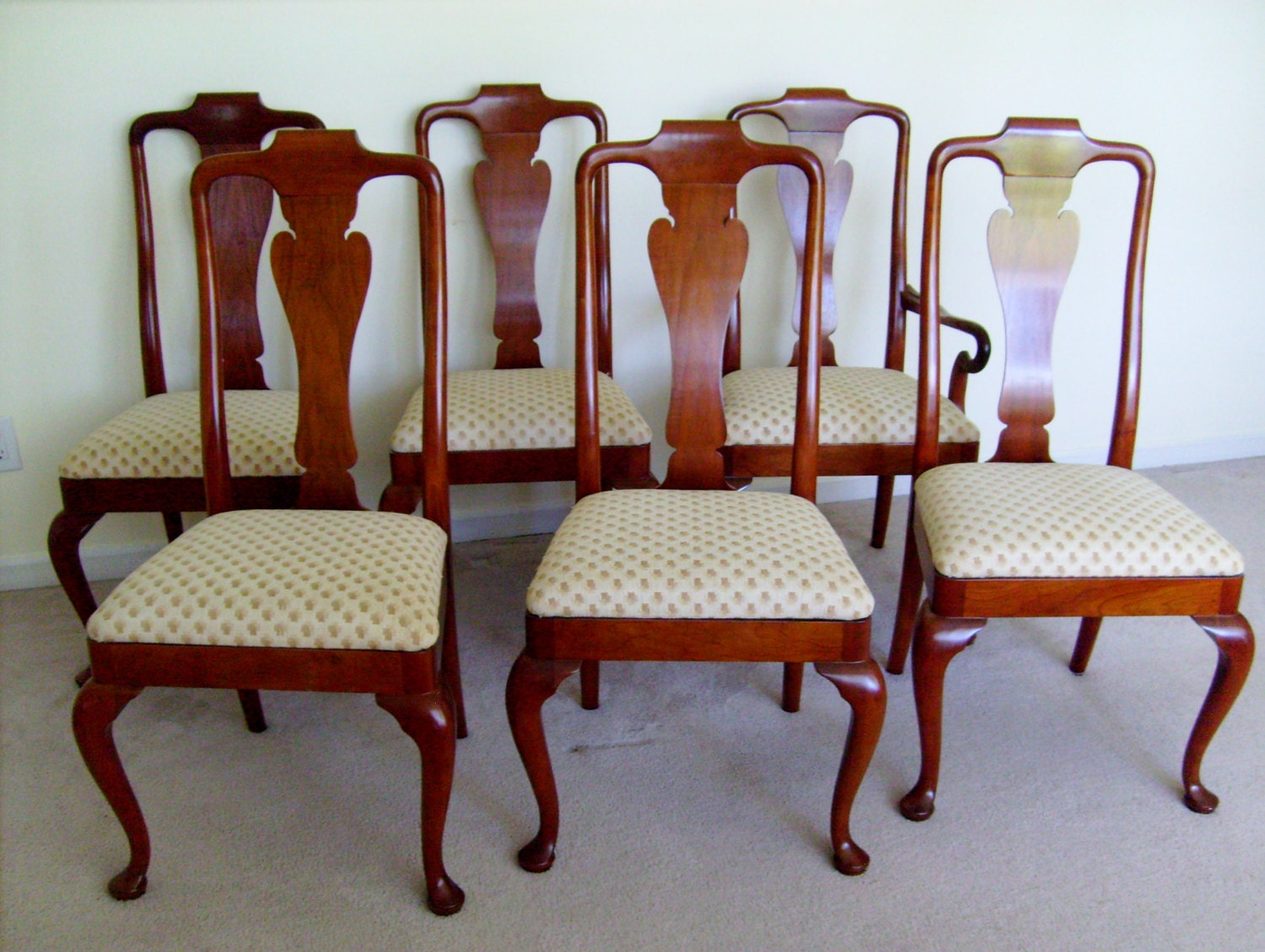 baker furniture set of 6 queen anne style dining chairs from