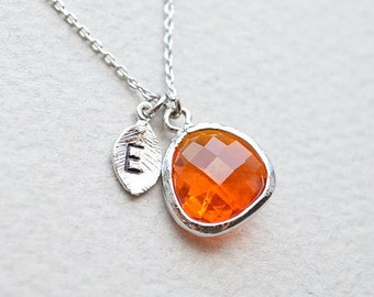 Personalized Orange glass and initial leaf charm necklace,  Initial necklace, Bridesmaid gift, Bridesmaid set, Wedding necklace