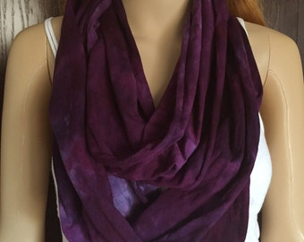 Purple Infinity Scarf-Cotton Jersey Scarf-Tie Dye Scarf-Plum and Power Berry OR Pick your two colors