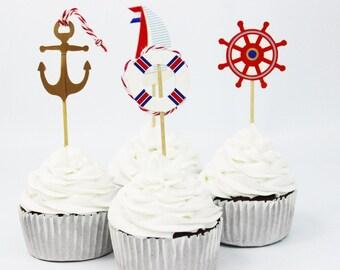 12/  Nautical Picks / Cupcake picks / Food picks /