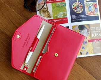 New Womens Ladies Envelope Leather Wallet Button Clutch Red