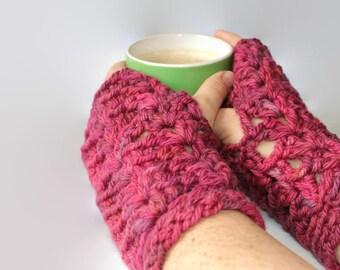 Crochet Fingerless Gloves, Ladies Gloves, Ladies Wristwarmers, Ladies Texting Gloves, Pure Wool Gloves, Pure Wool Fingerless Gloves