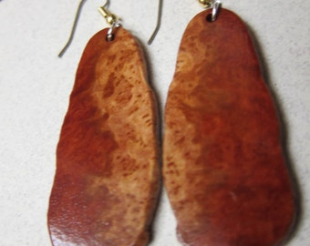 Rare, Red Mallee Burl Exotic Wood Earrings, Handcrafted by ExoticWoodButtonsAnd