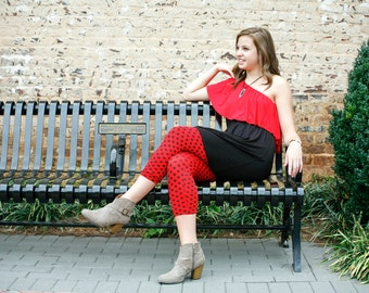Walking the Paws Too - Red with Black dot leggings