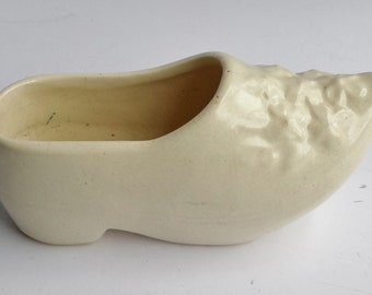 White Ceramic Dutch Type Shoe Planter or Container