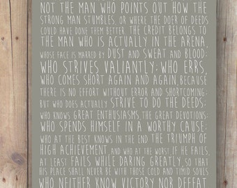 boyfriend gift printable - brother gift - gift for men - gift for him - the man in the arena - Roosevelt quote - not the critic who counts