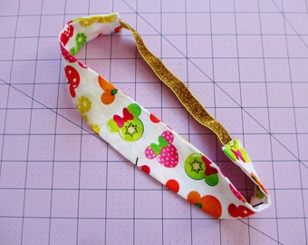 Mickey and Minnie Mouse Fruits Print Gold Glitter Elastic Headband