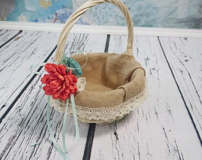 Flower girl basket burlap lace coral mint beach sola flower cream ivory rustic woodland summer spring wedding sola roses vintage custom