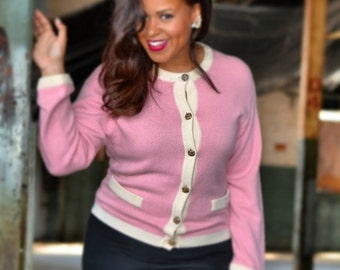 Oscar de la Renta Vintage Cashmere Pink with Ivory Trim Sweater