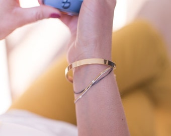 Bangle 3 colors, gold Bangle, thin chains worked gold, silver & Gun (anthracite)