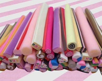 Kawaii Nail Art, Polymer Clay Canes, 10 piece set
