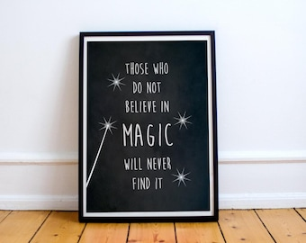 """Roald Dahl Quote Poster """"Magic"""" - Motivational Typography Style Print - Inspirational Wall Art - Poster Print"""
