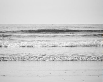 "Ocean Photography - Muted Minimalist - Silver Waves - Print Fine Art - Landscape Photography - Black and White - Nautical - ""Distant Shore"""