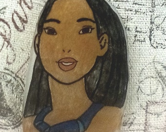 Pocahontas  Hand Drawn Necklace Native American Indian