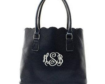 Scalloped monogrammed purse
