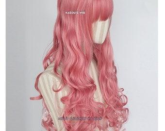 L-1  rose pink 75cm long curly wig . Hiperlon fiber . KA036